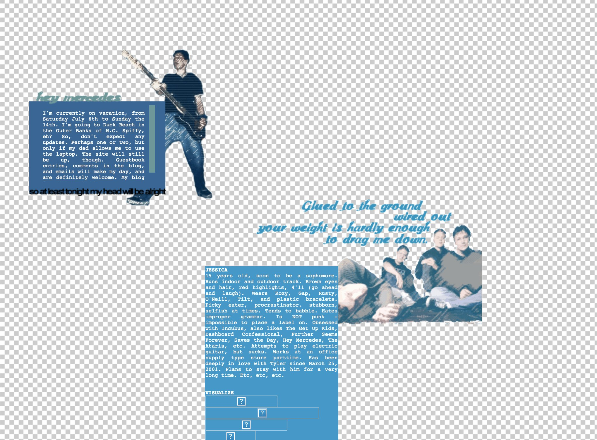 Screenshot of my website from 2002, with photos of the band Hey Mercedes, blue text boxes with white justified type, song lyrics, and a repeating checkered background.