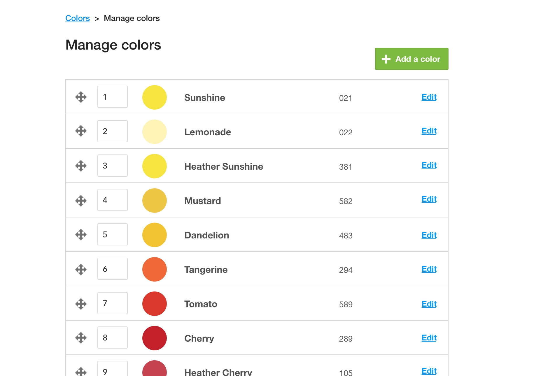 Screenshot of the global color list